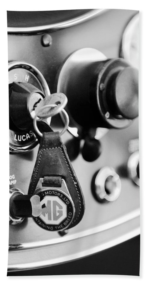 Transportation Hand Towel featuring the photograph 1948 Mg Tc Key Ring Black And White by Jill Reger