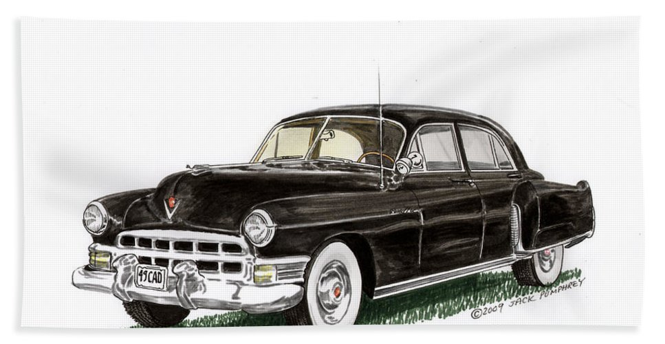 Framed Prints Of Cadillacs. Framed Canvas Prints Of Cadillac Fine Art. Famed Art Of Cadillac Hard Top Convertibles. Framed Art Of Great American Classic Cadillacs. Bath Sheet featuring the painting 1949 Cadillac Fleetwood Sedan by Jack Pumphrey