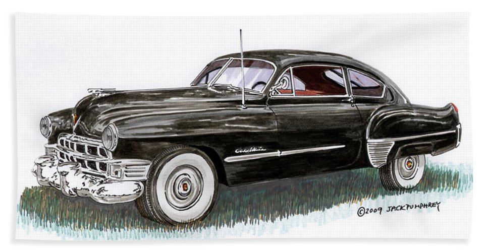 Framed Prints Of Cadillacs. Framed Canvas Prints Of Cadillac Fine Art. Famed Art Of Cadillac Hard Top Convertibles. Framed Art Of Great American Classic Cadillacs. Bath Sheet featuring the painting 1949 Cadillac Sedanette by Jack Pumphrey