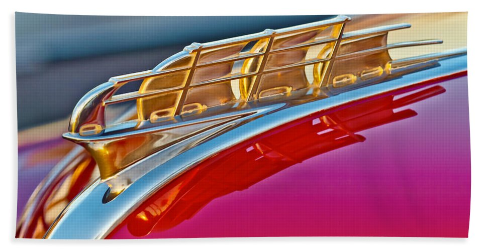 1949 Plymouth Bath Sheet featuring the photograph 1949 Plymouth Hood Ornament by Jill Reger