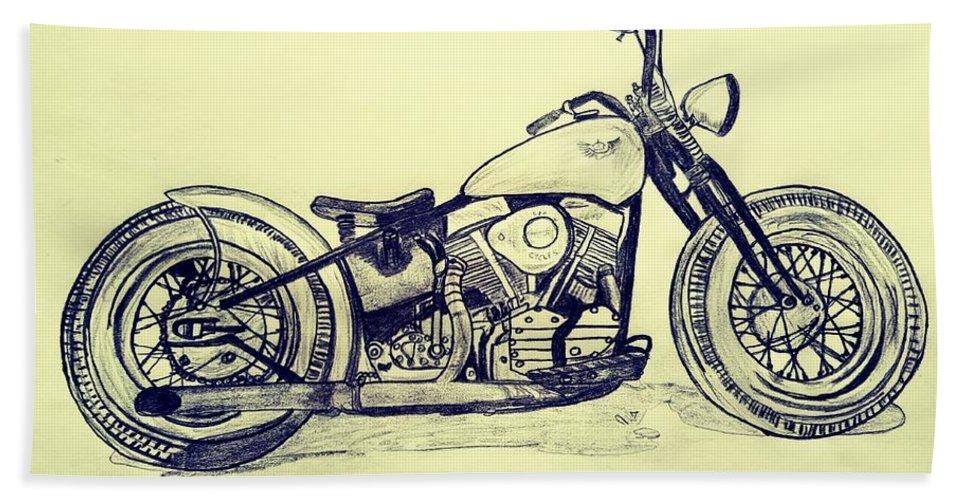 Vintage Hand Towel featuring the digital art 1950 Harley Davidson Panhead  Motorcycle - Vintage by Scott