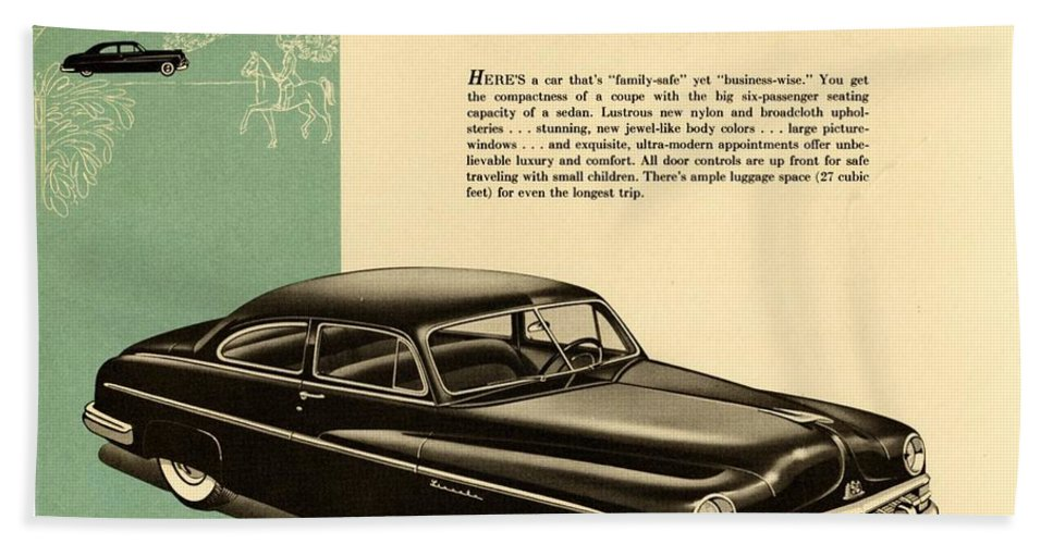1950 Lincoln 6 Passenger Coupe Bath Sheet featuring the drawing 1950 Lincoln 6 Passenger Coupe by Allen Beilschmidt