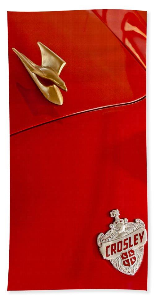 1951 Crosley Super Sport Hot Shot Convertible Hand Towel featuring the photograph 1951 Crosley Hot Shot Hood Ornament by Jill Reger