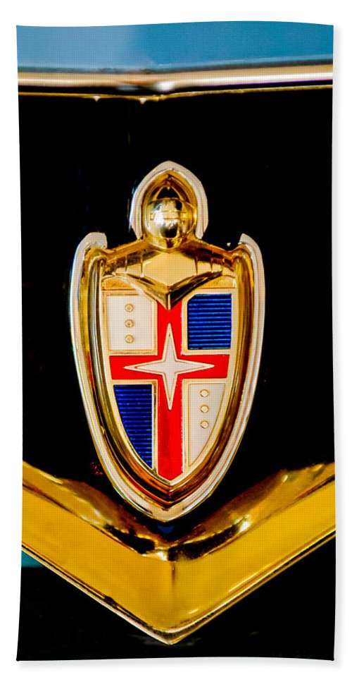 1953 Lincoln Emblem Hand Towel featuring the photograph 1953 Lincoln Capri Emblem by Jill Reger