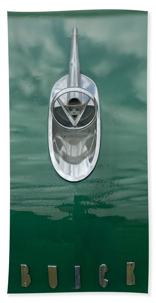 1954 Buick Hand Towel featuring the photograph 1954 Buick Hood Ornament 2 by Jill Reger