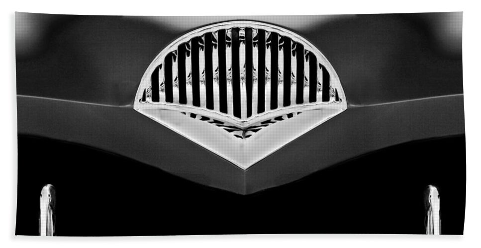 Transportation Hand Towel featuring the photograph 1954 Kaiser Darrin Grille Black And White by Jill Reger