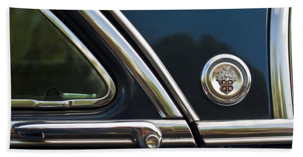 1954 Patrician Packard Hand Towel featuring the photograph 1954 Patrician Packard Emblem 3 by Jill Reger
