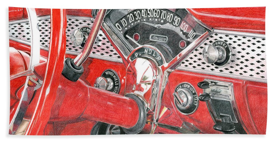 Classic Bath Sheet featuring the drawing 1955 Chevrolet Bel Air by Rob De Vries
