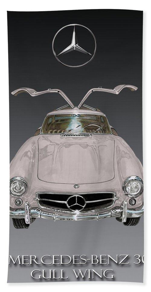 1955 Mercedes Benz 300 S L Gull Wing Bath Sheet featuring the painting 1955 Mercedes Benz Gull Wing 300 S L by Jack Pumphrey