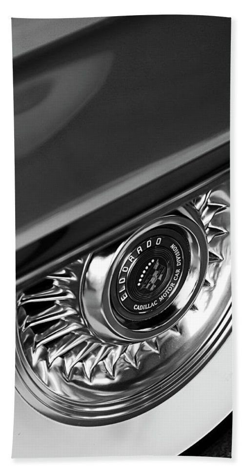 Car Hand Towel featuring the photograph 1956 Cadillac Eldorado Wheel Black And White by Jill Reger