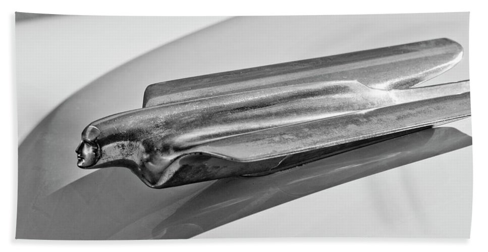 1956 Cadillac Bath Sheet featuring the photograph 1956 Cadillac Hood Ornament 2 by Jill Reger