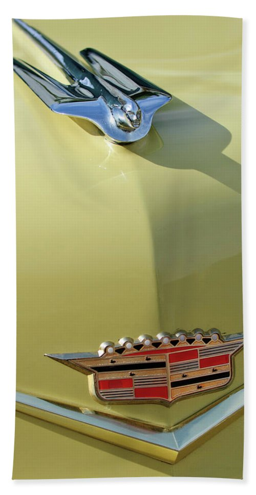 1956 Cadillac Sedan Bath Sheet featuring the photograph 1956 Cadillac Sedan Deville Hood Ornament by Jill Reger