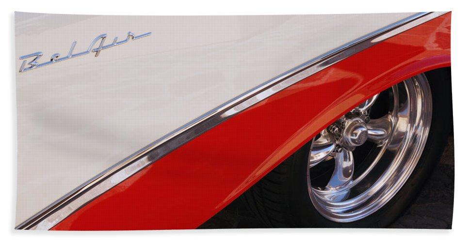 Chevy Bath Sheet featuring the photograph 1956 Chevrolet Belair Convertible Wheel by Jill Reger