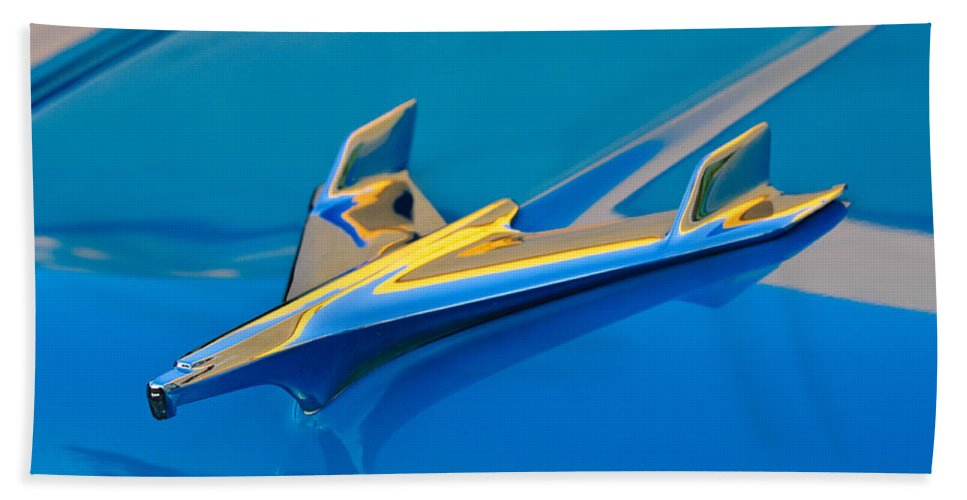 1956 Chevrolet Hand Towel featuring the photograph 1956 Chevrolet Hood Ornament 2 by Jill Reger