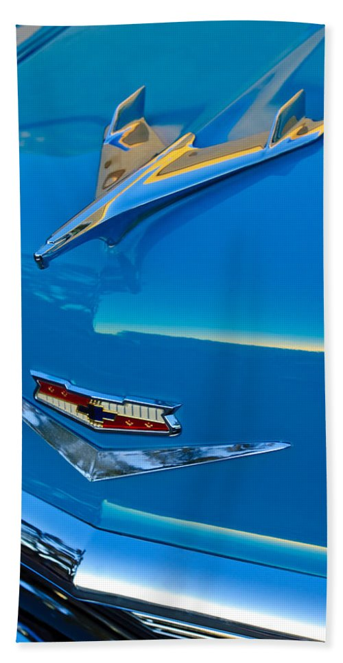 1956 Chevrolet Hand Towel featuring the photograph 1956 Chevrolet Hood Ornament 4 by Jill Reger