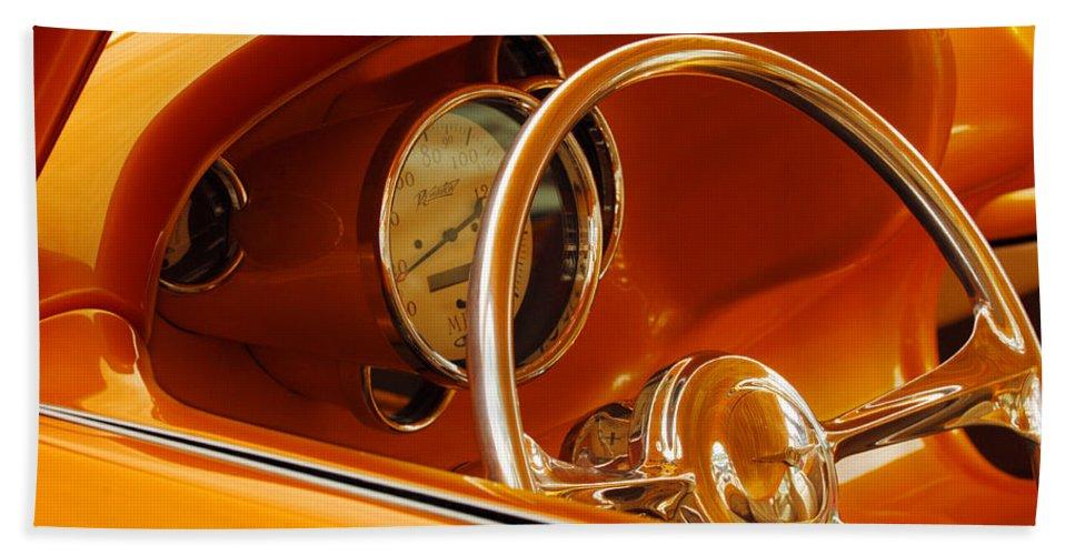 Car Bath Sheet featuring the photograph 1956 Chrysler Custom 2 Door Sport Wagon Steering Wheel by Jill Reger