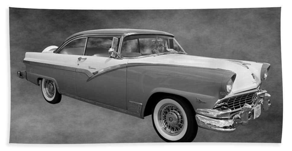 1956 Hand Towel featuring the photograph 1956 Ford Fairlane Victoria by Betty Northcutt