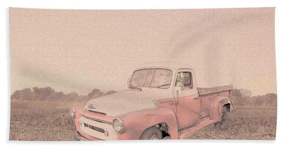 Ford S120 Bath Sheet featuring the digital art 1956 Ford S120 International Truck by Theresa Campbell