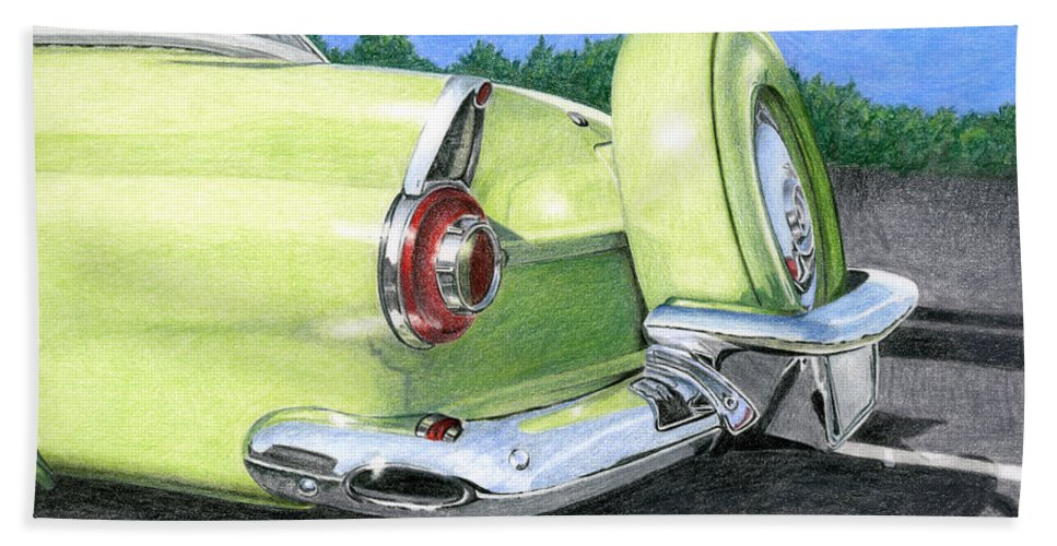 Classic Bath Sheet featuring the drawing 1956 Ford Thunderbird by Rob De Vries