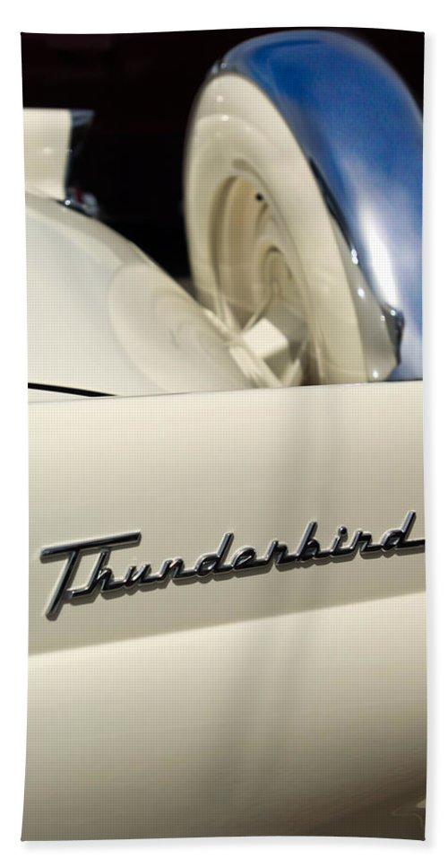 Car Bath Sheet featuring the photograph 1956 Ford Thunderbird Spare Tire by Jill Reger