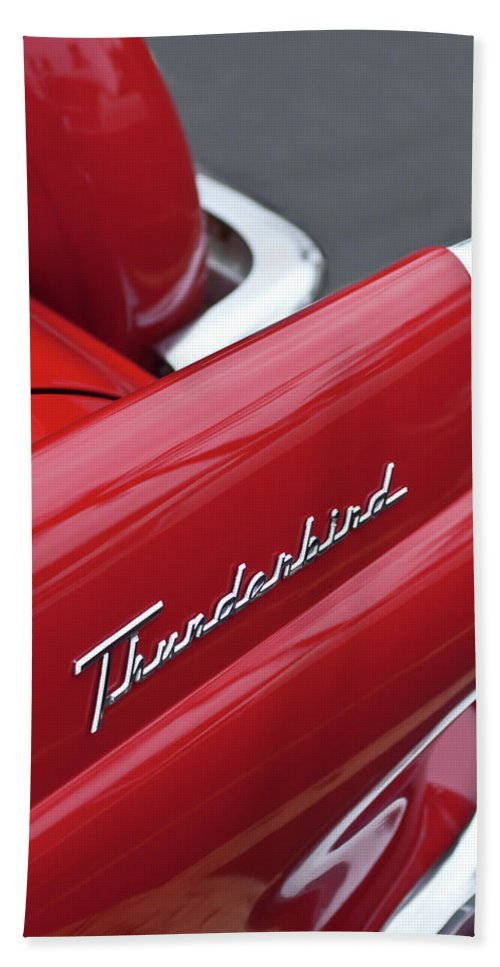1956 Ford Thunderbird Bath Towel featuring the photograph 1956 Ford Thunderbird Taillight Emblem 2 by Jill Reger