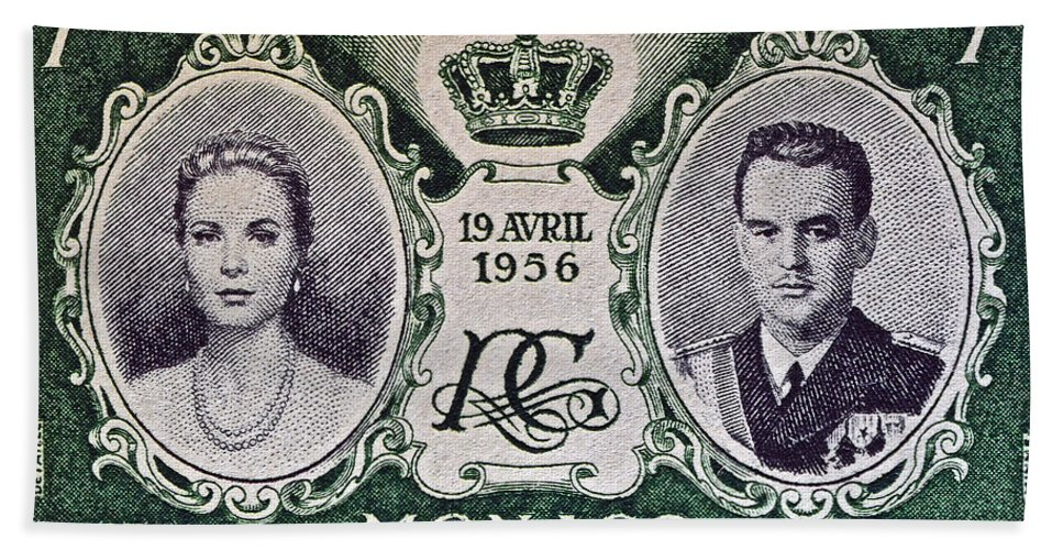 1956 Bath Sheet featuring the photograph 1956 Princess Grace Of Monaco Stamp II by Bill Owen