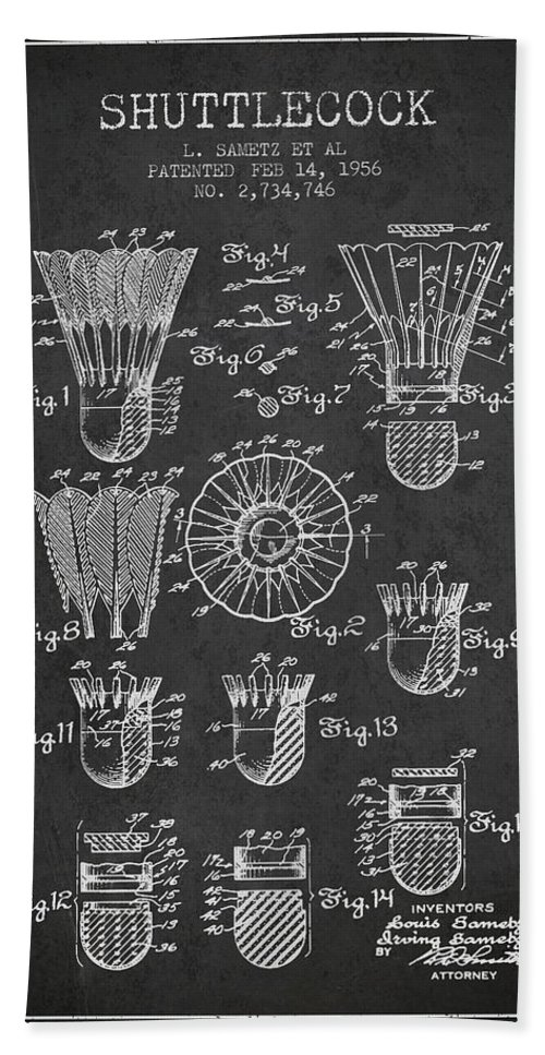 Badminton Hand Towel featuring the digital art 1956 Shuttelcock Patent Spbm04_cg by Aged Pixel