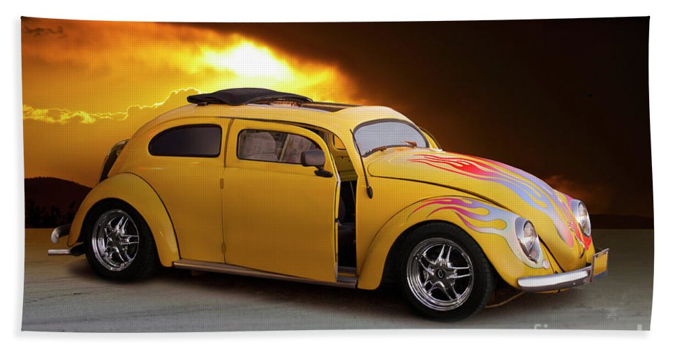 Auto Hand Towel featuring the photograph 1956 Vw 'hot Rod' Bug II by Dave Koontz