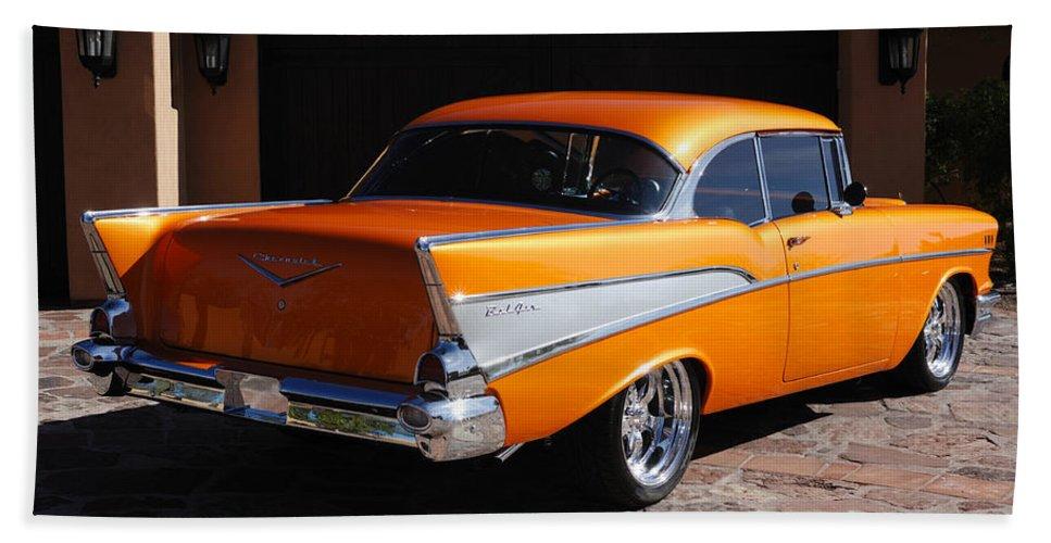 Car Bath Sheet featuring the photograph 1957 Chevrolet Belair Coupe by Jill Reger