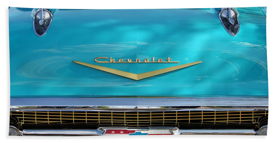 Car Bath Sheet featuring the photograph 1957 Chevrolet Belair Grille 2 by Jill Reger