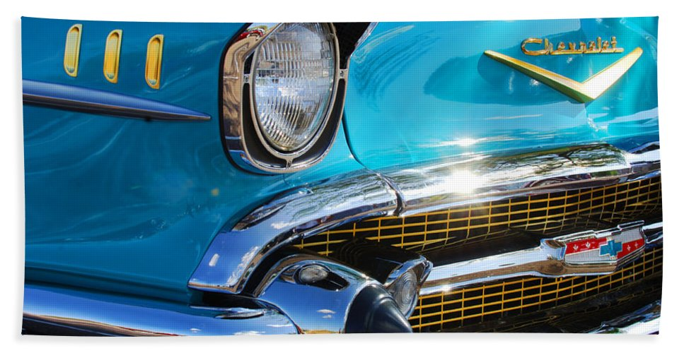 1950's Hand Towel featuring the photograph 1957 Chevrolet Belair Grille by Jill Reger