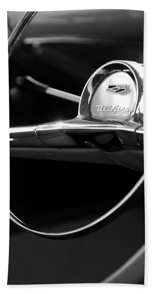 Transportation Bath Sheet featuring the photograph 1957 Chevrolet Belair Steering Wheel Black And White by Jill Reger