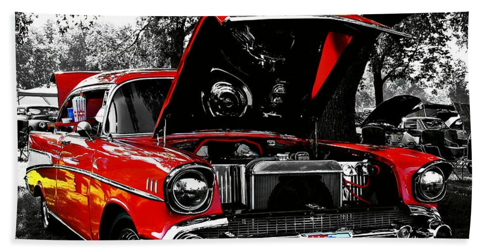 1957 Hand Towel featuring the photograph 1957 Chevy Bel Air by Chris Berry