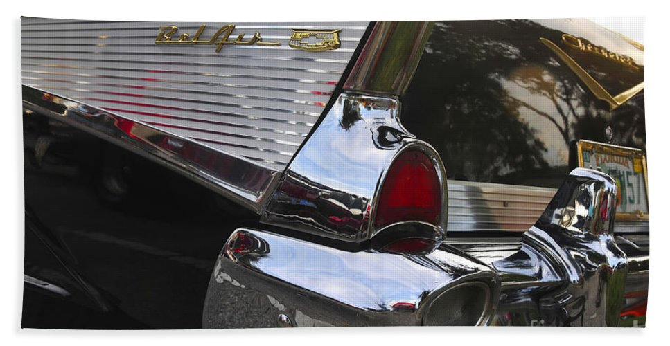 1957.chevy Hand Towel featuring the photograph 1957 Chevy Bel-air by David Lee Thompson