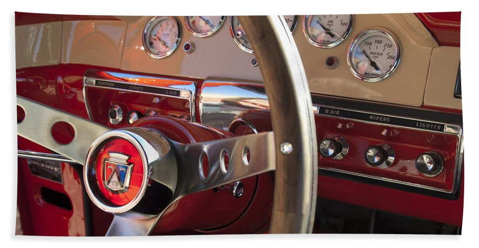 1957 Ford Fairlane Bath Sheet featuring the photograph 1957 Ford Fairlane Steering Wheel by Jill Reger