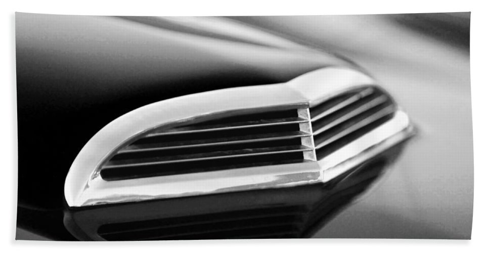 Transportation Hand Towel featuring the photograph 1957 Thunderbird Scoop Black And White by Jill Reger