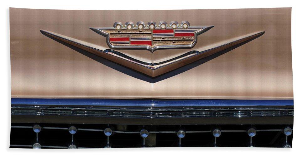 1958 Cadillac Eldorado Barritz Hand Towel featuring the photograph 1958 Cadillac Eldorado Barritz Emblem by Jill Reger