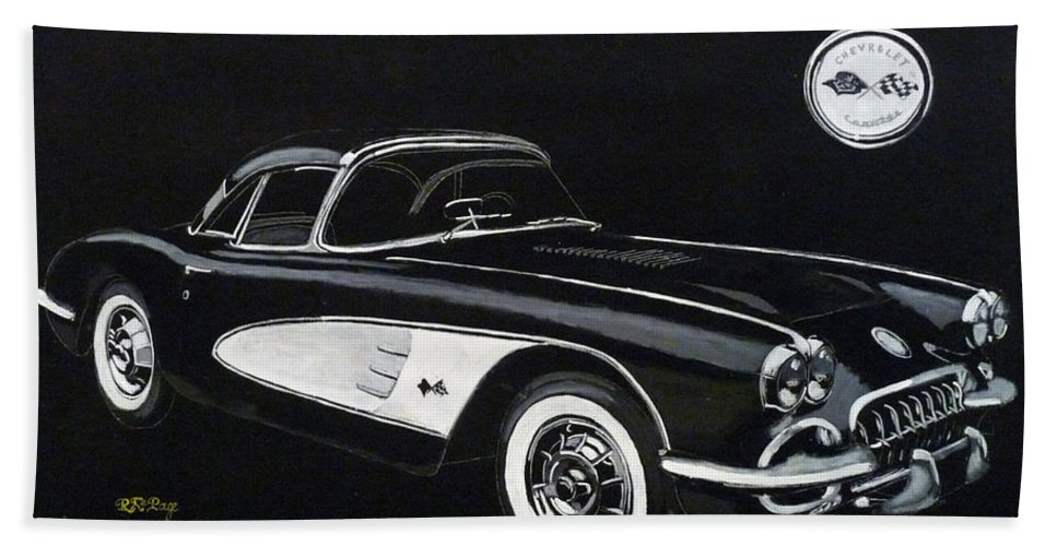 Cars Hand Towel featuring the painting 1958 Chev Corvette by Richard Le Page
