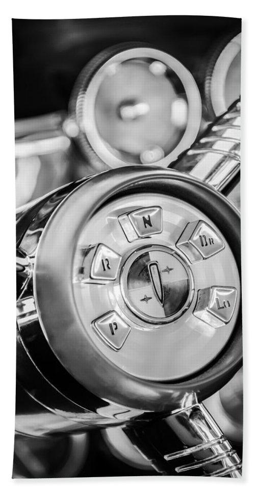 1958 Edsel Ranger Bath Towel featuring the photograph 1958 Edsel Ranger Push Button Transmission 2 by Jill Reger