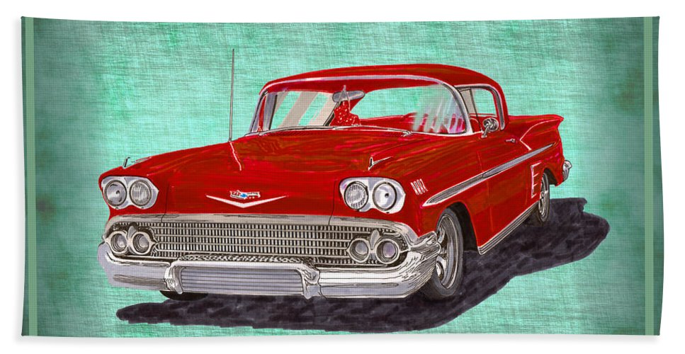 A Bright Red 1958 Chevy Impala Poised Against A Green Linen Pillow Hand Towel featuring the painting 1958 Impala By Chevrolet by Jack Pumphrey