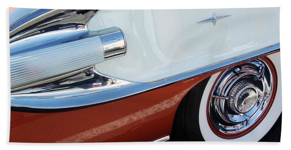 Car Bath Sheet featuring the photograph 1958 Pontiac Bonneville Wheel by Jill Reger