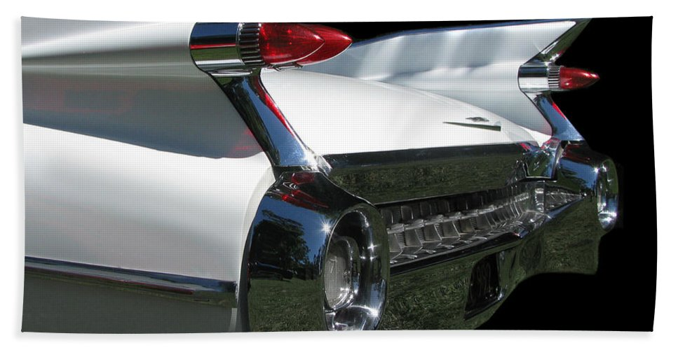 1959 Cadillac Coupe De'ville Convertible Hand Towel featuring the photograph 1959 Cadillac Tail by Peter Piatt