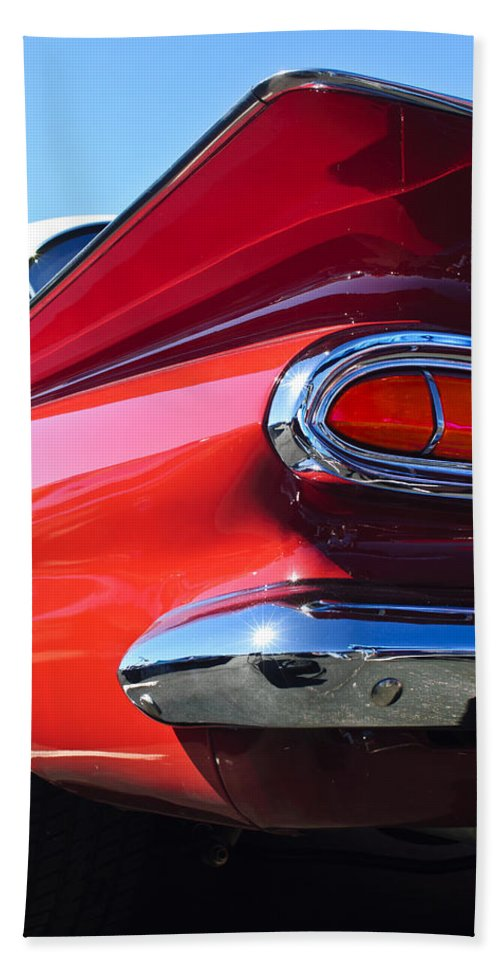 1959 Chevrolet Biscayne Hand Towel featuring the photograph 1959 Chevrolet Biscayne Taillight by Jill Reger