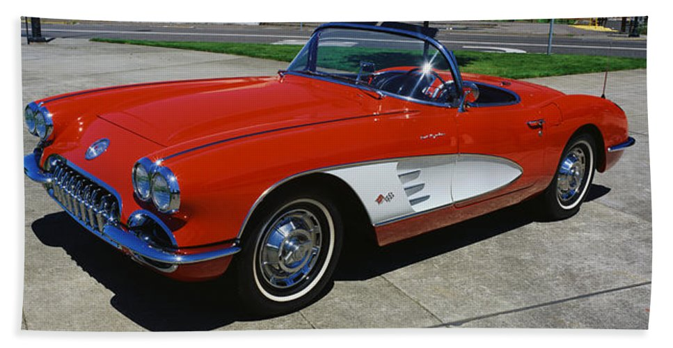 Photography Bath Sheet featuring the photograph 1959 Corvette by Panoramic Images