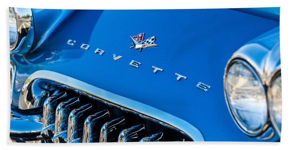 1961 Chevrolet Corvette Zob Bath Sheet featuring the photograph 1961 Chevrolet Corvette Zob Grille by Jill Reger