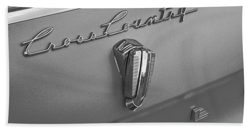 1961 Hand Towel featuring the photograph 1961 Rambler Emblem B And W by Nick Gray