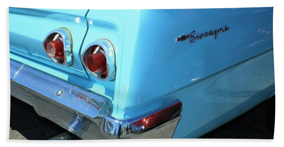 Auto Hand Towel featuring the photograph 1962 Chevy - Chevrolet Biscayne Logos And Tail Lights by WHBPhotography Wallace Breedlove