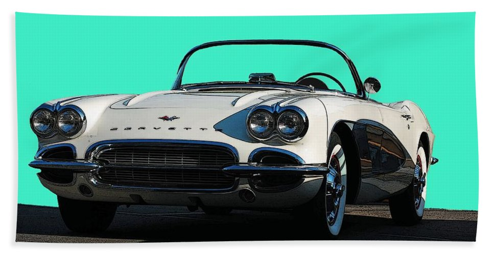 Corvette Hand Towel featuring the photograph 1962 Corvette by Robert Meanor