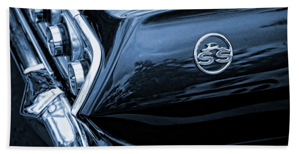1963 Hand Towel featuring the photograph 1963 Chevy Impala Blue by Gordon Dean II