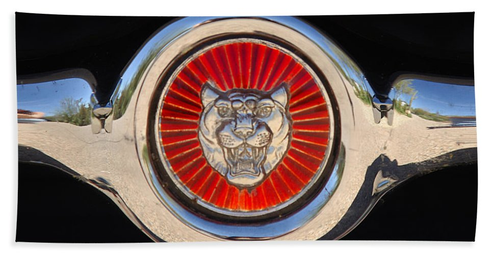Transportation Bath Sheet featuring the photograph 1963 Jaguar Xke Roadster Emblem by Jill Reger